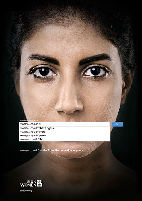 "UN Women poster 2013 showing ""women shouldn't"""